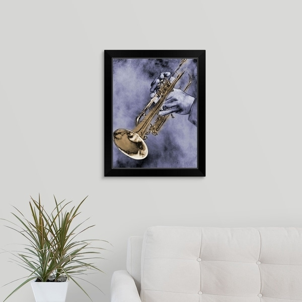 """Trumpet Player"" Black Framed Print"