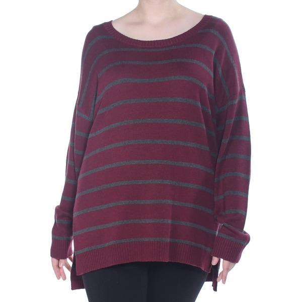 ARIZONA Womens Maroon Striped Long Sleeve Jewel Neck Sweater Size 1X. Opens flyout.
