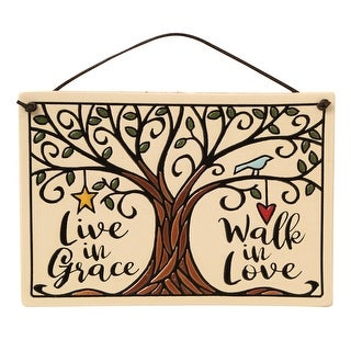 Spooner Creek Live in Grace Walk in Love Wall Plaque - Hand Crafted Ceramic Sign Inspirational Home Decor - 7 in. x 5 in.