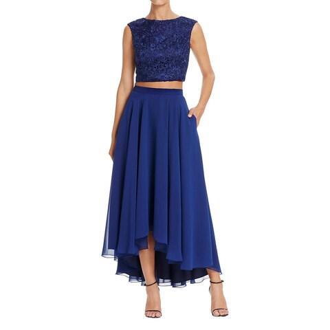 Aidan Mattox Womens Crop Top Dress Mixed Media