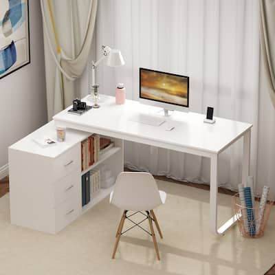 """Kerrogee 55"""" L-Shaped Computer Desk - Storage Workstation - 3 Colors"""