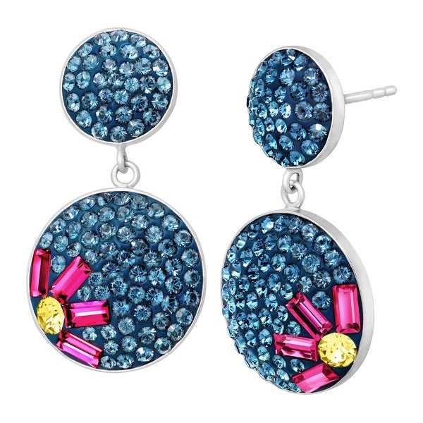 Flower Drop Earrings with Swarovski Elements Crystal in Sterling Silver - Multi-Color