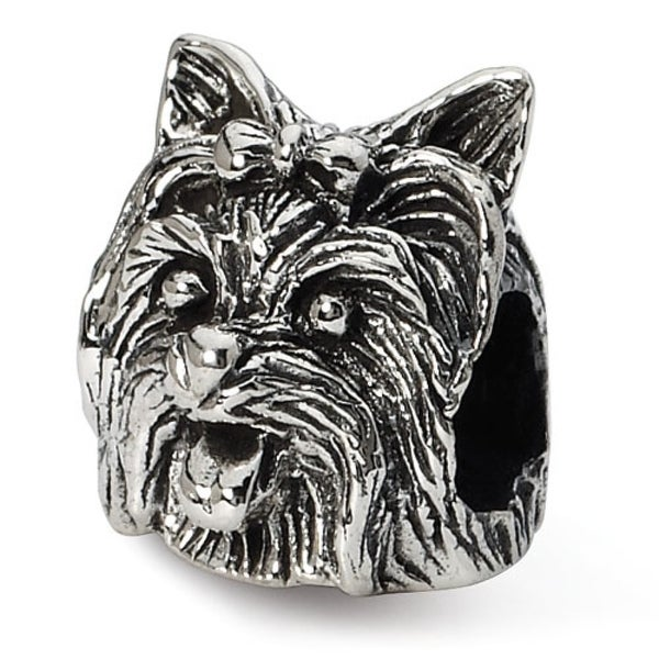Sterling Silver Reflections Yorkshire Terrier Head Bead (4mm Diameter Hole)