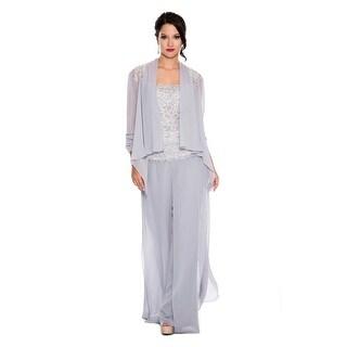 Lace & Chiffon 3-Piece Pant (Option: Silver)