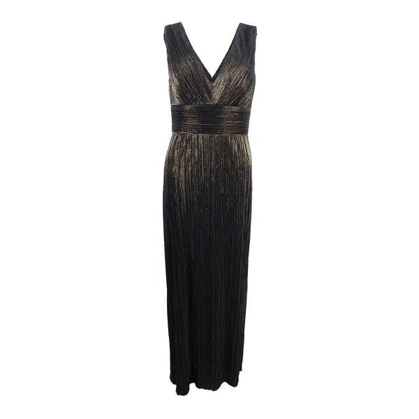 Jessica Howard Women's Pleated Metallic Slit Gown