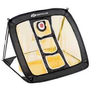 Pop Up Golf Chipping Net for Accuracy & Swing Practice In/Outdoor Carrying Bag - yellow & black