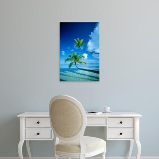 Easy Art Prints Panoramic Images's 'Palm trees bending over the sea' Premium Canvas Art