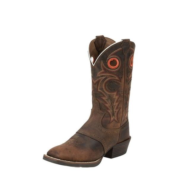 b8c11b8315e Justin Western Boots Mens Leather Cowboy Silver Buffalo Whiskey SV2534