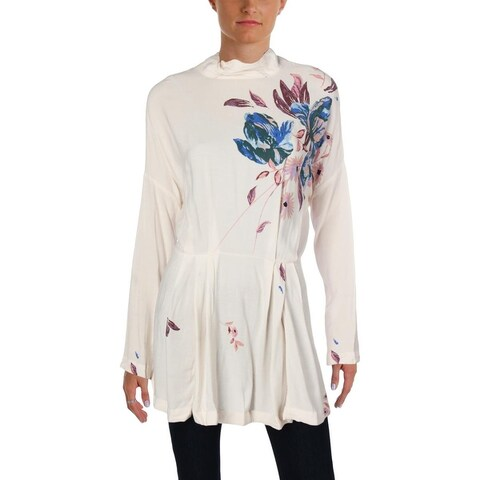 Free People Womens Gemma Turtleneck Top Floral Print Mock