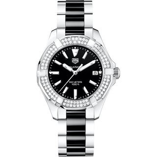 Link to Tag Heuer Women's WAY131E.BA0913 'Aquaracer' Diamond Two-Tone Stainless Steel and Ceramic Watch - Black Similar Items in Women's Watches