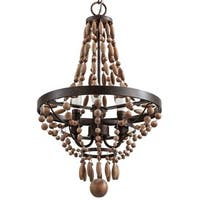 "Park Harbor PHHL6243 Casa Maya 14"" Wide 3 Light Single Tier Empire Style Chandelier with Wood Bead Accents"