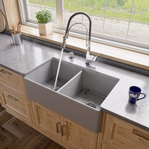 "Gray Matte Smooth Apron 33"" x 18"" Double Bowl Fireclay Farm Sink"