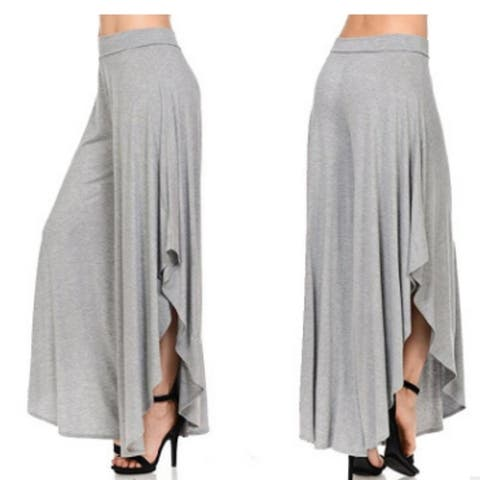 Womens Casual Pants Layered Wide Leg Flowy Palazzo Pants Legs Pants