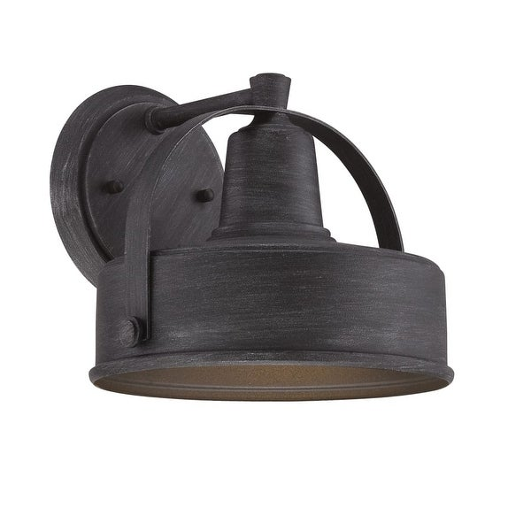 """Designers Fountain 33131 Portland-DS 9"""" Width 1-Light Dark Sky Outdoor Lantern Wall Sconce - Weathered Pewter - N/A"""