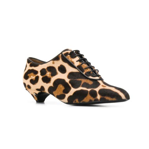 Laurence Dacade Women's Leather Leopard Print Pumps Black