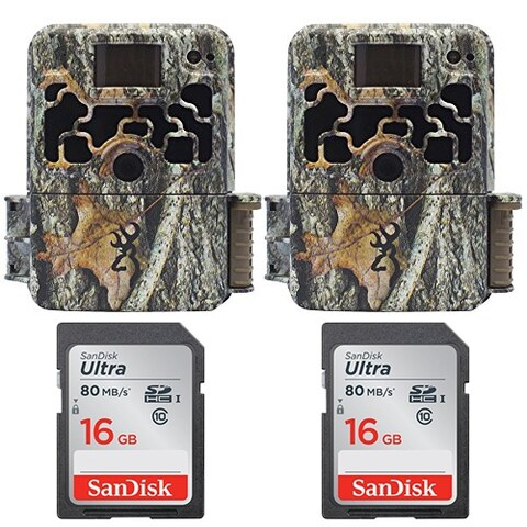 Two Browning DARK OPS HD 940 Micro Trail Cameras (18MP) w/ Two16GB Memory Cards - Camouflage