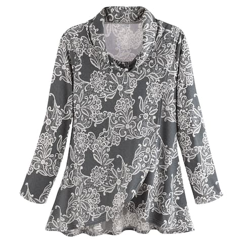 Catalog Classics Women's Filigree Floral Print Cowl Neck Tunic Top - Gray, White