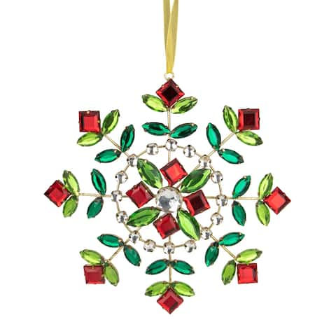 6.5-Inch Green and Red Gem Stone Flowers Snowflake Christmas Ornament