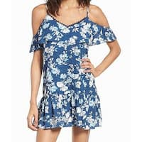 Speechless Blue Womens Size Small S Cold Shoulder Floral Shift Dress