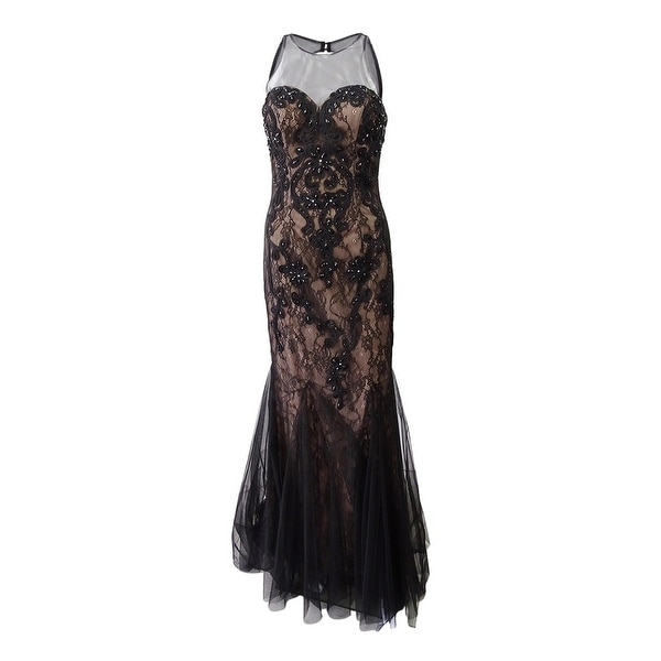 c38abf7f5457 Shop Betsy & Adam Women's Lace Soutache Gown (2, Black/Nude) - Black/Nude -  2 - On Sale - Free Shipping Today - Overstock - 25447639