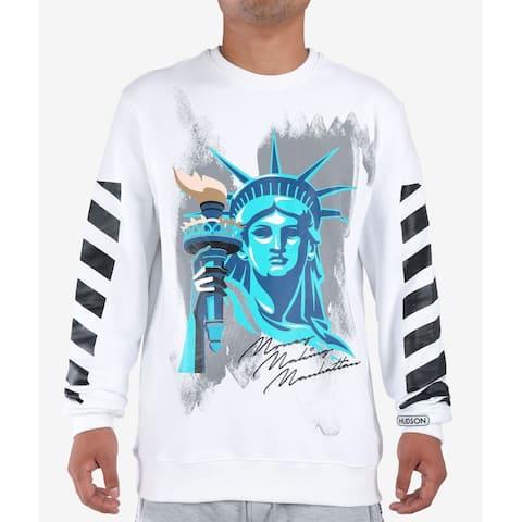 Hudson Mens Sweater White Blue Size 3XL Liberty Graphic Print Crewneck
