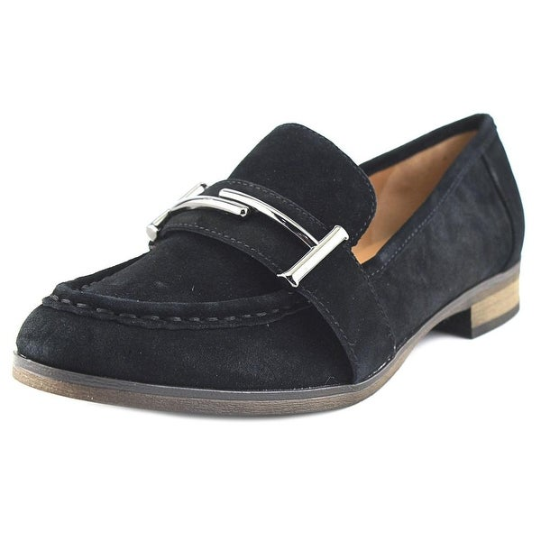 Franco Sarto L-Baylor Women Round Toe Suede Black Loafer