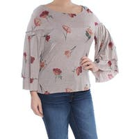 LUCKY BRAND Womens Beige Floral Bell Sleeve Boat Neck Top  Size: L