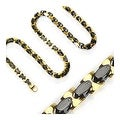 Stainless Steel Plated Gold and Black Square Necklace (10 mm) - 24 in - Thumbnail 0