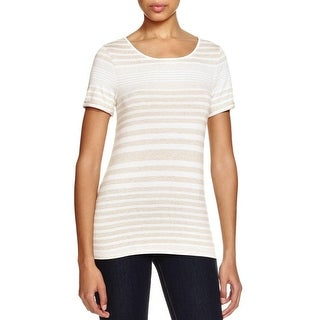 Three Dots Womens Casual Top Open Back Striped - m
