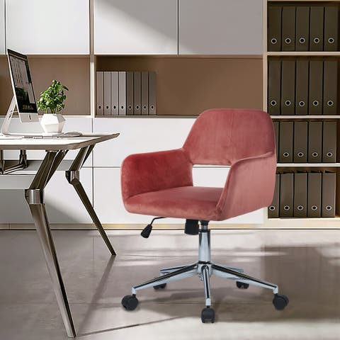 Porch & Den Sabrina Velvet Home Office Swivel Chair