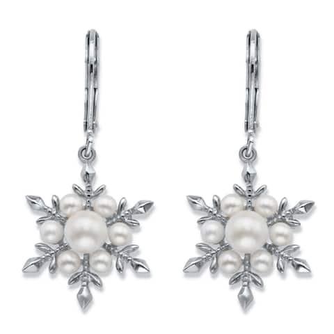 Silvertone Snowflake Drop Earrings (35x19mm) Round Simulated Pearl