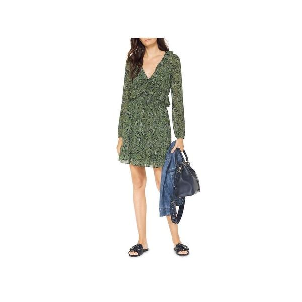 aae753b27b Shop MICHAEL Michael Kors Womens Casual Dress Ruffled Paisley Print ...