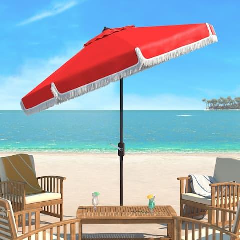 SAFAVIEH Milan Fringe 9 Ft Crank Red/ White Outdoor Umbrella