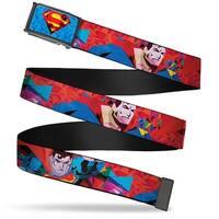 Polygonal Superman Shield Fcg Blues Reds Yellows Black  Frame Superman Web Belt - M