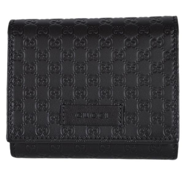 de16f22cecc6 Gucci 510317 Black Leather Micro GG Guccissima Small French Wallet W/Coin