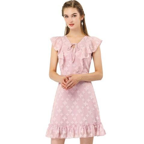 Allegra K Women's Floral Mesh Smocked Waist Ruffled Hem Dress