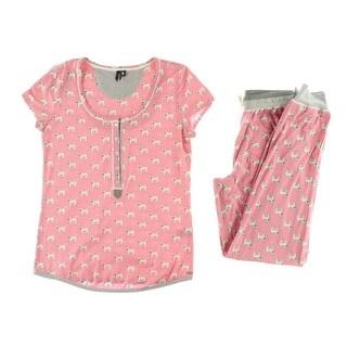 Kensie Womens Printed Short Sleeves Pajama Set - S