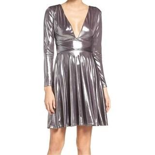 Halston Heritage NEW Gray Womens Size XS V-Neck Pleated Sheath Dress