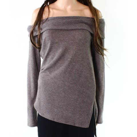 Moa Moa Brown Womens Small S Off Shoulder Fleece Cowl Neck Sweater