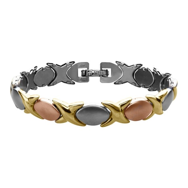 Link Bracelet in 14K Yellow & Rose Gold-Plated Stainless Steel - three-tone
