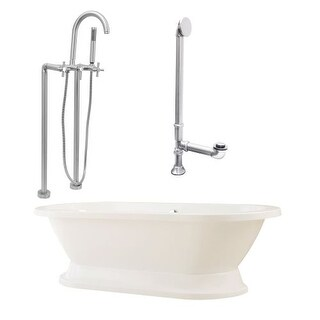 """Giagni LC2-C Capri 67"""" Free Standing Soaking Tub Package - Includes Tub, Tub Plinth Base, Floor Mounted Tub Filler Faucet, and"""