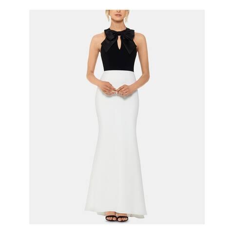 XSCAPE Womens White Keyhole Wide Leg Jumpsuit Size 14