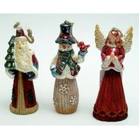 Set of 3 Ornaments Angel, Santa, Snowman