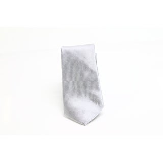 DKNY NEW Silver Micro Square Solid Men's Neck Tie Silk Accessory