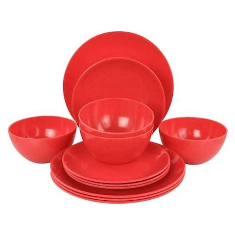 Martha Stewart 12-Piece Melamine Dinnerware Set in Red