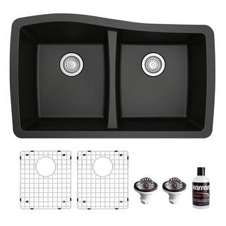 Link to Karran Undermount Quartz 33 in. 50/50 Double Bowl Kitchen Sink Kit Similar Items in Sinks