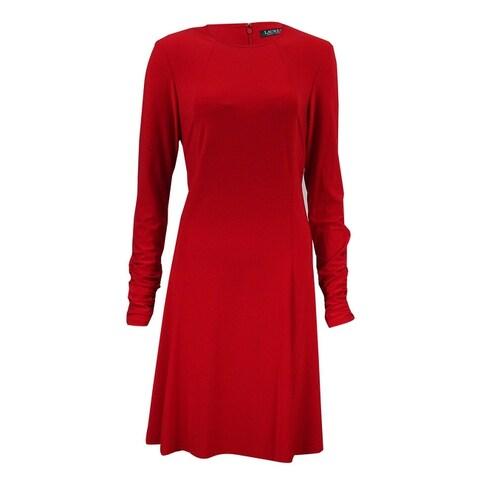 Lauren Ralph Lauren Women's Ruched Long Sleeves Dress - Orient Red