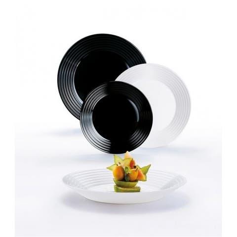 Luminarc Harena 18 Piece. Glass Black & White Dinnerware Set for 6