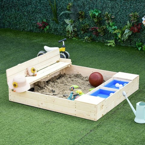Outsunny Kids Wooden Sandbox w/ 2 Side Buckets Convertible Bench Seat Waterproof Cover Bottom Liner Storage Space