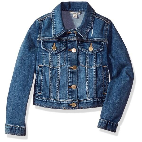 f91cec6f4b85 Shop Calvin Klein Blue Girls Size 4 Button Front Denim Jacket ...